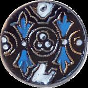Antique Black & Blue Glass Victorian Button