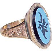 Gorgeous VICTORIAN Antique Carved Glass Ring