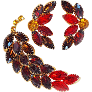 Fabulous FALL RHINESTONE Vintage Pin Brooch Set