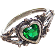 Vintage Sterling & Green Heart Stone Baby Ring