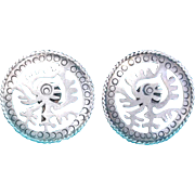 Fabulous MEXICAN STERLING Taxco Pre Columbian Vintage Earrings