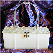 Fabulous LUCITE & Plastic Fancy Lid Vintage Box PURSE