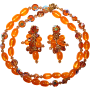 Fabulous ORANGE MOONGLOW & Topaz Aurora Crystal Necklace SET