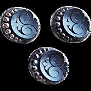 Antique Victorian Black Glass Buttons - Estate Set of 3 Matching