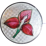 Antique STERLING & ENAMEL Trillium Flower Signed Pin Brooch