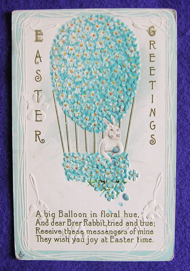Victorian EASTER RABBIT Bunny in Hot Air Balloon Antique Old Estate Postcard