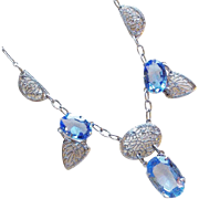 Fabulous ART DECO Filigree & Blue Glass Necklace