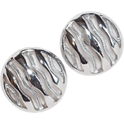Vintage TRIFARI Signed Silvertone Earrings