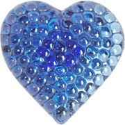 Vintage Blue Glass Heart Estate Button