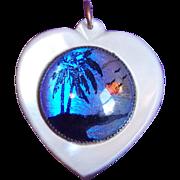 Fabulous BUTTERFLY WING Heart Vintage Pendant