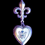WWII Sterling Army Sweetheart Vintage Locket Pin Brooch