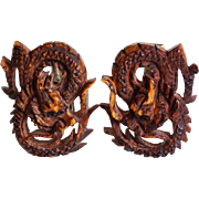 Mid Century Carved CHINESE DRAGON Vintage Cufflinks
