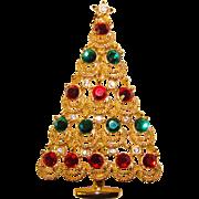 Gorgeous 1980's Vintage RHINESTONE CHRISTMAS TREE Brooch