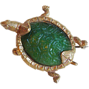 Antique Edwardian TURTLE Green Glass Pin Brooch