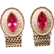Awesome Pink Rhinestone Mesh Wrap Vintage Estate Cufflinks
