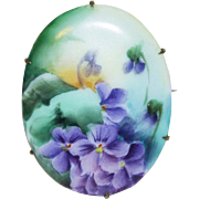 Antique Victorian Handpainted Porcelain Pansy Pin Brooch