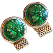 Vintage LADY GODDESS Green Enamel Wrap Cufflinks