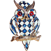 Awesome OWL Enamel Checkerboard Vintage Pin Brooch