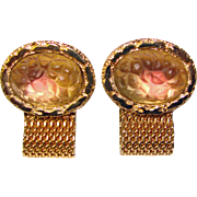 Super Cool FROSTED TEXTURED GIVRE GLASS Mesh Wrap Vintage Estate Cufflinks