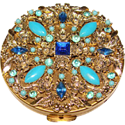 Fabulous Vintage BLUE JEWELED COMPACT - Unused - Red Tag Sale Item