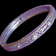 Gorgeous ART DECO Filigree & Clear Stone Vintage Bangle Bracelet