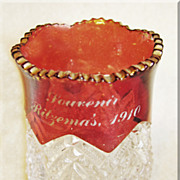 Gorgeous RUBY STAIN Fancy Glass Antique 1910 Toothpick Holder
