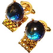 Super Cool DANTE Signed PEACOCK BLUE CRYSTAL Mesh Wrap Vintage Estate Cufflinks