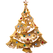 Vintage Signed RHINESTONE CHRISTMAS TREE Brooch