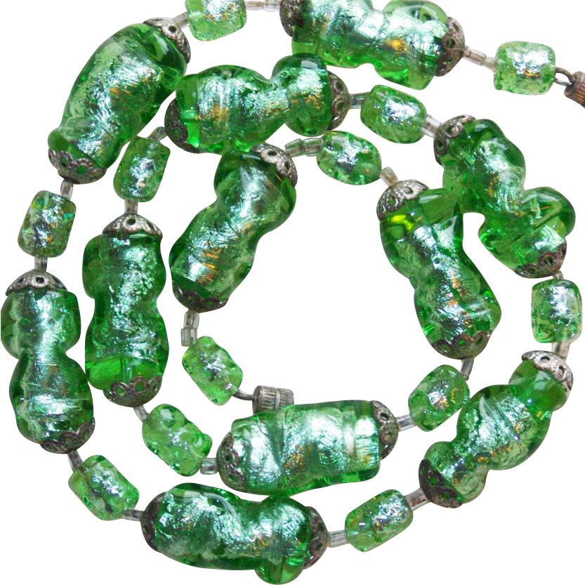 Fabulous foil glass green beads vintage necklace from