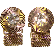 Awesome CLEAR RHINESTONE Mesh Wrap Vintage Estate Cufflinks