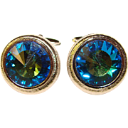 Awesome Vintage BLUE RIVOLI Rhinestone CUFFLINKS