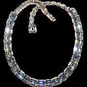 Fabulous KRAMER Signed Vintage BLUE EMERALD CUT RHINESTONES Necklace