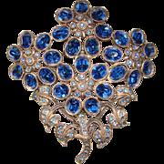Fabulous HUGE 1940's BLUE RHINESTONE Bouquet BROOCH