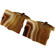 Awesome BANDED AGATE Vintage Estate Cufflinks