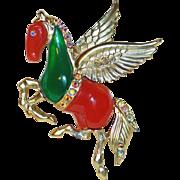 Fabulous PEGASUS Lucite & Rhinestone Vintage Pin Brooch