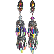 Fabulous Long LEWIS SEGAL Signed Vitrail Crystal Vintage Dangle Earrings