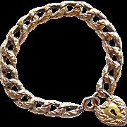 Fabulous VICTORIAN Antique Heart Lock Charm Bracelet