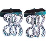 Sterling & Marcasite INITIALS JK Vintage Mid Century Cufflinks