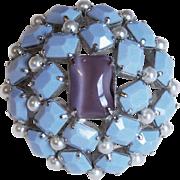 Fabulous PERIWINKLE BLUE & PURPLE Glass Vintage Pin Brooch