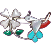 Sterling HUMMINGBIRD Turquoise Coral MOP Vintage Pin Brooch