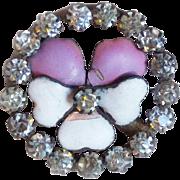 Antique Victorian ENAMEL PANSY Button