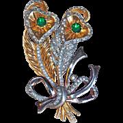 Fabulous 1940s Peacock Feather Heart Rhinestone Vintage Pin Brooch