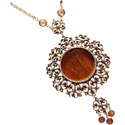 Gorgeous GOLDETTE Huge Intaglio Glass Vintage Necklace