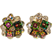 Fabulous VENDOME Signed WATERMELON CRYSTAL & Aurora Bead Earrings