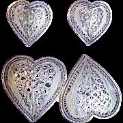 Fabulous FILIGREE STERLING Vintage Double HEART Pin Brooch Set