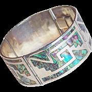 Fabulous LOS BALLESTEROS Signed Sterling & Abalone Vintage Bracelet