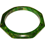 Fabulous GREEN BAKELITE  Octagonal Marbled BANGLE BRACELET