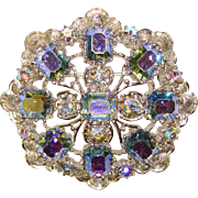 Gorgeous CORO Signed BLUE AURORA Rhinestone Vintage Pin Brooch