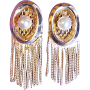 Awesome HOBE Signed Faux Pearl Vintage Earrings