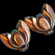 Gorgeous RENOIR Modernist Copper TULIP Vintage Earrings